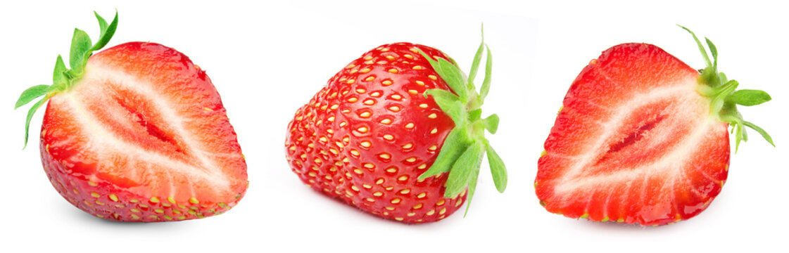 Three ripe strawberries. Strawberry collection isolated on white. Strawberry berry fruits Clipping Path.
