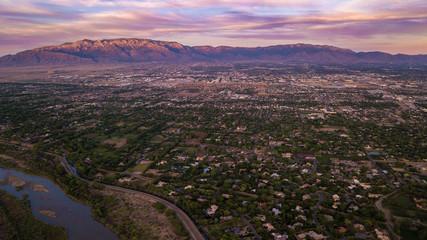 Spoed Foto op Canvas Chocoladebruin Albuquerque Colorful Sunset