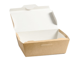 Brown paper food box with open lid isolated on white ,used in fast food packaging.