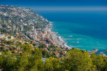 Sea coast, resort of southern Italy, Europe. View from above. Beach holidays in Europe