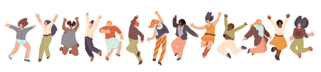 Vector flat collection of Happy Multiracial Woman illustration, dancing and jumping with joy, cheer, happiness, isolated on white background. Different race woman, unity, frendship and sisterhood