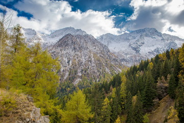 Landscape of the Alps. Snow-capped mountain peaks. Freedom, tourism, travel. Dolomites landscapes