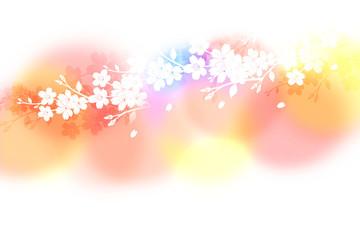 Wall Mural - 桜のシルエット(背景はカラフルなパステルカラー)