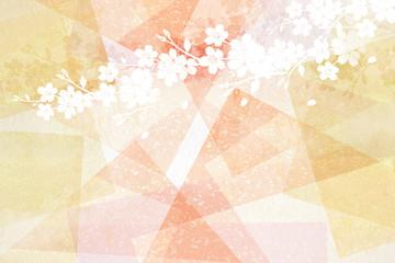 Wall Mural - 透明感のある和紙を背景にした桜