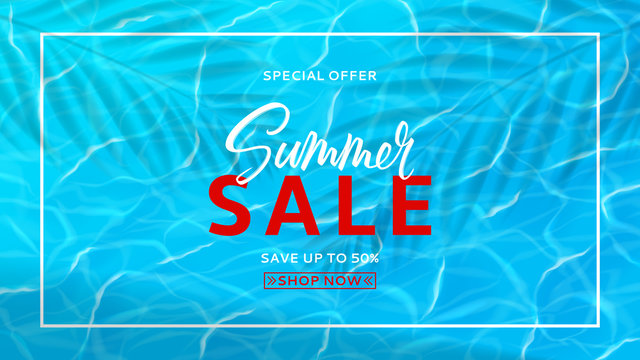 Summer sale horizontal banner template. Water surface texture template. Realistic transparent water texture with sea waves. Vector illustration. Seasonal discount offer.