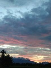 Evening sky with a beautiful orange color