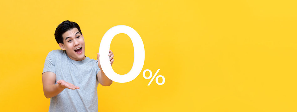 Young handsome Asian man offer 0% on banner background