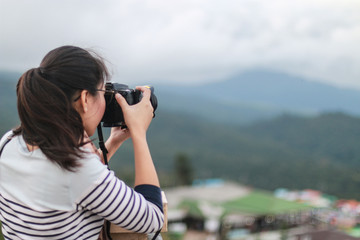 Photographers enjoying nature in the morning
