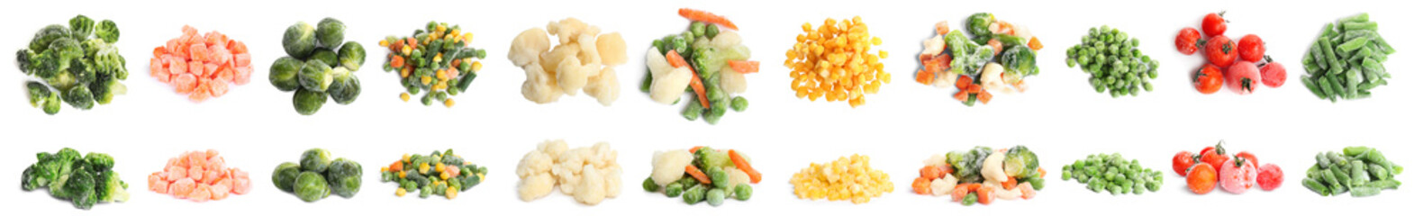 Set of different frozen vegetables on white background. Banner design