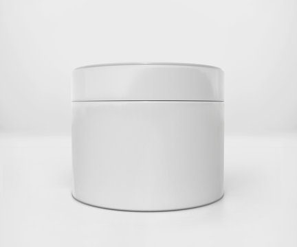 Blank white cosmetic jar mockup with cap, Realistic packaging mockup template, 3d rendering isolated on light background