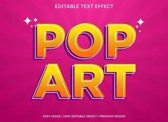 pop art text effect template with retro type style and bold text concept use for brand label and logotype
