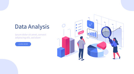 People Characters Working with Data Visualization. Man and Woman Analyzing Tables, Charts and Graphs at Business Dashboard. Digital Data Analysis Concept. Flat Isometric Vector Illustration.