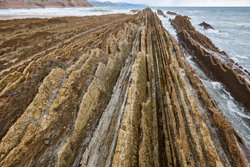 Flysch dramatic rock coastline formation basque country in Zumaia, Euskadi