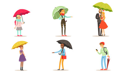 Collection of People Walking Under Colorful Umbrellas, Men, Women and Kids with Umbrella Vector Illustration