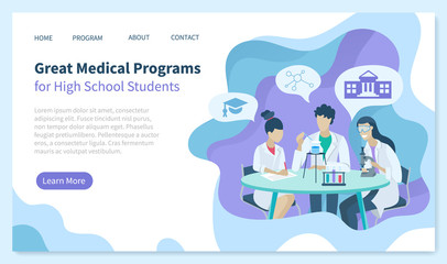 Great medical program for high school students, people dealing with samples and researches. Doctors at work conducting researches. Website or webpage template, landing page, vector in flat style