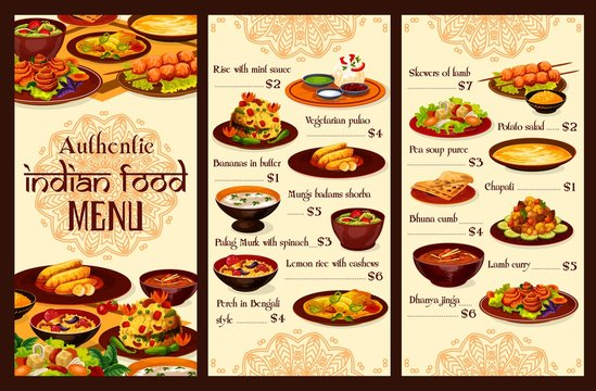 Indian cuisine menu, traditional authentic indian dishes. Vector rice in min sauce meal, vegetarian pulao and bananas in butter, lumb carry, murgs badams shorba soup and chapati, lemon with cashew