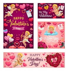 Fotobehang Graffiti collage Happy Valentines day vector greeting card. Pink hearts and cupid with arrows, rose flowers wreath, angel with golden harp and pink flamingo with love lock and key