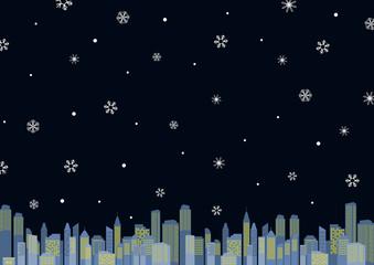 都市 夜景 雪の結晶