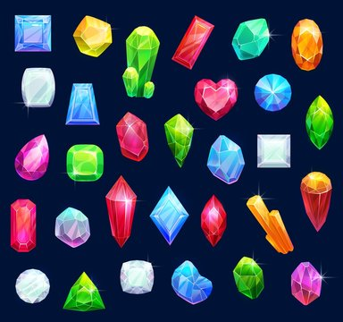 Gemstones, gem jewels, diamonds and jewelry precious stones. Vector ruby, sapphire crystal and emerald, opal and amethyst rhinestones, topaz and quartz gems in jewelry cut