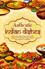 Indian cuisine food, authentic dishes and meals, India traditional restaurant menu. Vector Indian curry rice, tandoori food and masala spices, vegetarian vegetables, rice, meat and fish