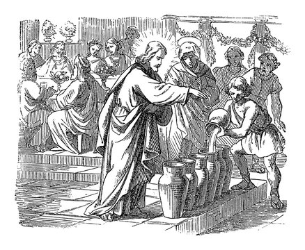 Vintage drawing or engraving of biblical story of Jesus changes water in wine at Cana in Galilee. Bible, New Testament,John 2. Biblische Geschichte , Germany 1859.