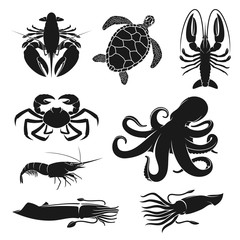 Seafood and fishery crustacean, animals silhouette icons. Vector octopus, shrimp or prawn and ocean cuttlefish, lobster or crab and turtle, sea crawfish and crayfish sea food symbols