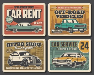 Car service, auto mechanic maintenance and automobile repair retro poster Vector old rare cars motor show, travel off-road vehicles rental, diagnostics and transport repair garage station