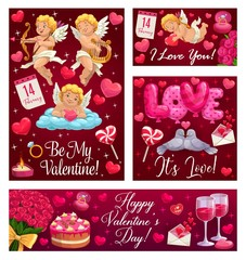 Happy Valentine day, Be My Valentine, I love you calligraphy with heart balloons, angels and red roses. Vector Valentine holiday celebration cupids with golden bow and arrow, wedding cake and ring