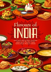 Indian food cuisine, restaurant menu and India authentic dish cooking recipe book cover. Vector Indian traditional meals, curry vegetables in masala spices, rice and meat, soups, desserts and salads