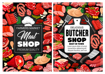 Meat pork and beef, butcher shop food and sausages poster. Vector farm market butchery products lamb and beefsteak or ham and bacon, filet and mutton ribs barbecue, salami and cervelat sausages