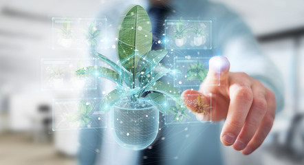 Man holding and touching holographic projection of a plant with digital analysis 3D rendering Wall mural