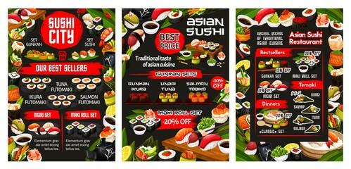 Japanese sushi bar menu, Asian cuisine food and sashimi rolls buffet. Vector California roll and Philadelphia sushi, temaki and gunkan, fish and seafood futomaki with shrimp tempura and wasabi