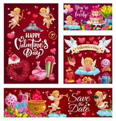 Happy Valentines Day, Save the Date calligraphy invitation, 14 February. Vector cupids and couples of doves, wedding cake and flower bouquets. Letters with love messages, gifts and heart in cage