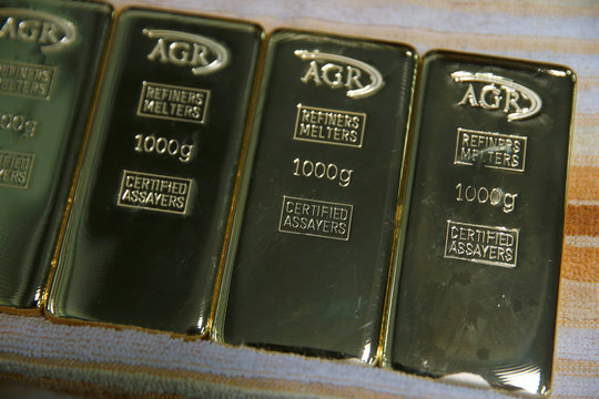 Gold bars weighing 1kg are seen at AGR (African Gold Refinery) in Entebbe
