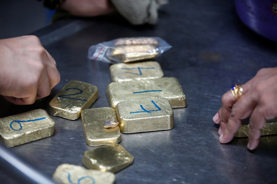 Gold bars are seen before the refining process at AGR (African Gold Refinery) in Entebbe