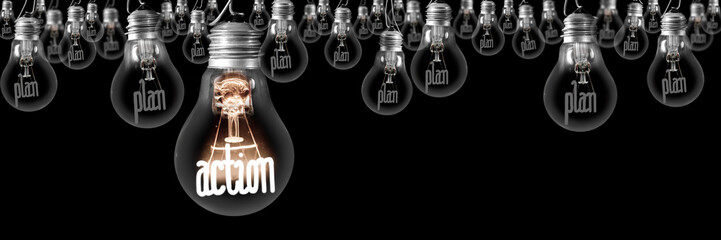 Light Bulbs with Plan and Action Concept