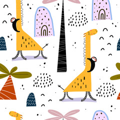 Seamless pattern with cartoon giraffes, sloths, palm trees, rainbows, decor elements. Flat style, colorful vector for kids. Hand drawing, animals. baby design for fabric, print, wrapper, textile