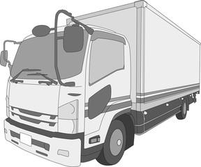 トラック イラスト シンプル 白黒