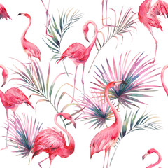 Watercolor flamingo and summer floral texture. Hand drawn seamless pattern with exotic leaves and branches on white background. Beach wallpaper design