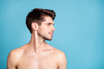 Photo of naked serious confident man caring about his skin model stylish trendy isolated over...