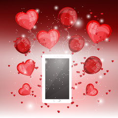 Smartphone with heart balloons on red background ,love and digital for Valentine's day