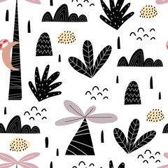 Seamless pattern with cartoon sloths, palm trees, decor elements. Flat style, colorful vector for kids. Hand drawing, animals. baby design for fabric, print, wrapper, textile