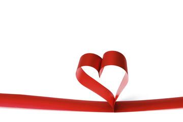 Wall Mural - Heart shaped red ribbon