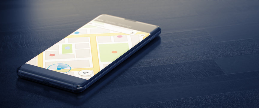 GEO TARGETING on a Mobile Phone. Online Map on a Screen. Close-up Image of Modern Smartphone with Mao or Geo Tracking on Dark Surface. Map Tracking or Geolocation Concept. 3D Render.