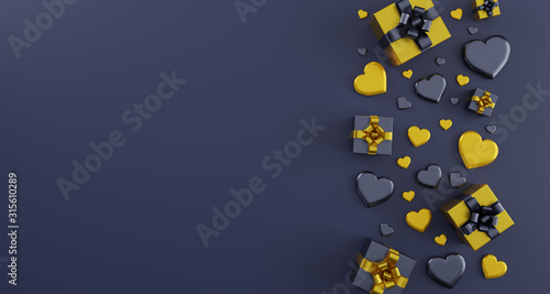 Valentine's day illustration with heart  - 3d rendering