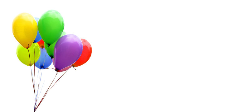 Colorful balloons isolated on white, banner, header, headline, panorama, copy space