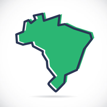 Stylized simple outline map of Brazil