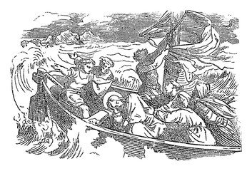 Vintage drawing or engraving of biblical story of sleeping Jesus woke up and calms the storm over the lake. Bible,New Testament,Luke 8. Biblische Geschichte , Germany 1859.