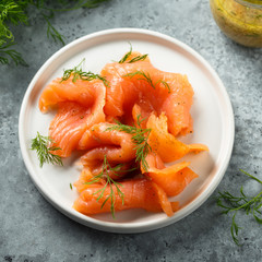 Smoked salmon with dill and mustard sauce