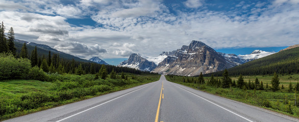 Mountains highway road trip. Icefields Parkway at Crowfoot Glacier and Bow Lake in Banff National Park, Canada